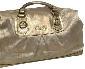 Coach Satchel in Gold and cream