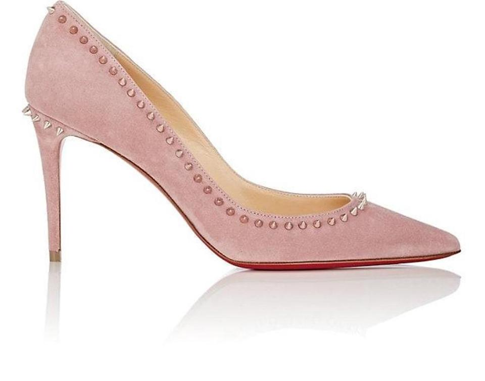 808c1a44c8d Christian Louboutin Viole Pink Anjalina 100 Spiked Studded Suede Pumps
