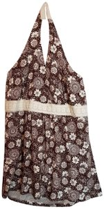 Gitano Summer Fall Plus-size Floral Brown & Cream Halter Top