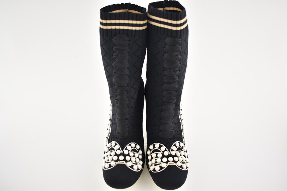White Embellished Boots Stretch Sock Pearl Fendi Black Pump Ankle Knit Heel Booties Rockoco nxBPqIWE