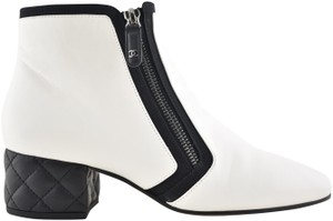 Chanel Stiletto Leather Lambskin Ankle white Boots