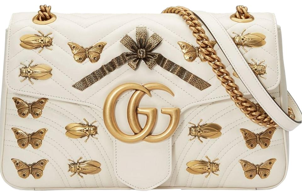 64ae071c7b2ca9 Gucci Marmont New Metal Mix Gg Butterflies Leather Red Shoulder Bag ...