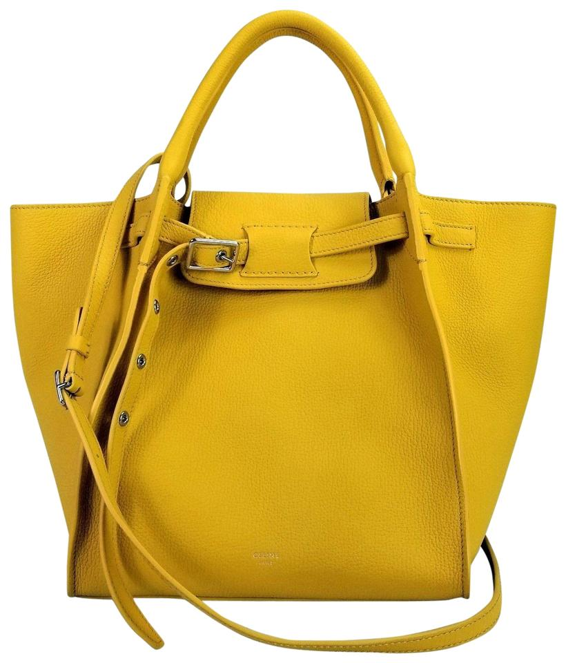 61486540fbf4a Céline Small Big Grain Leather Tote in Sunflower   Yellow Image 0 ...