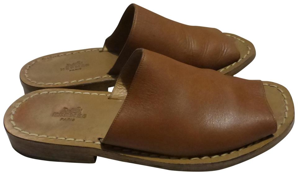 WOMEN Hermès Brown Leather For Mules/Slides For Leather sale 6dd021