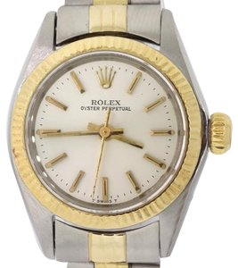 Rolex Ladies Rolex Oyster Perpetual 14k Gold 6719 Two Tone 24mm Watch Y8