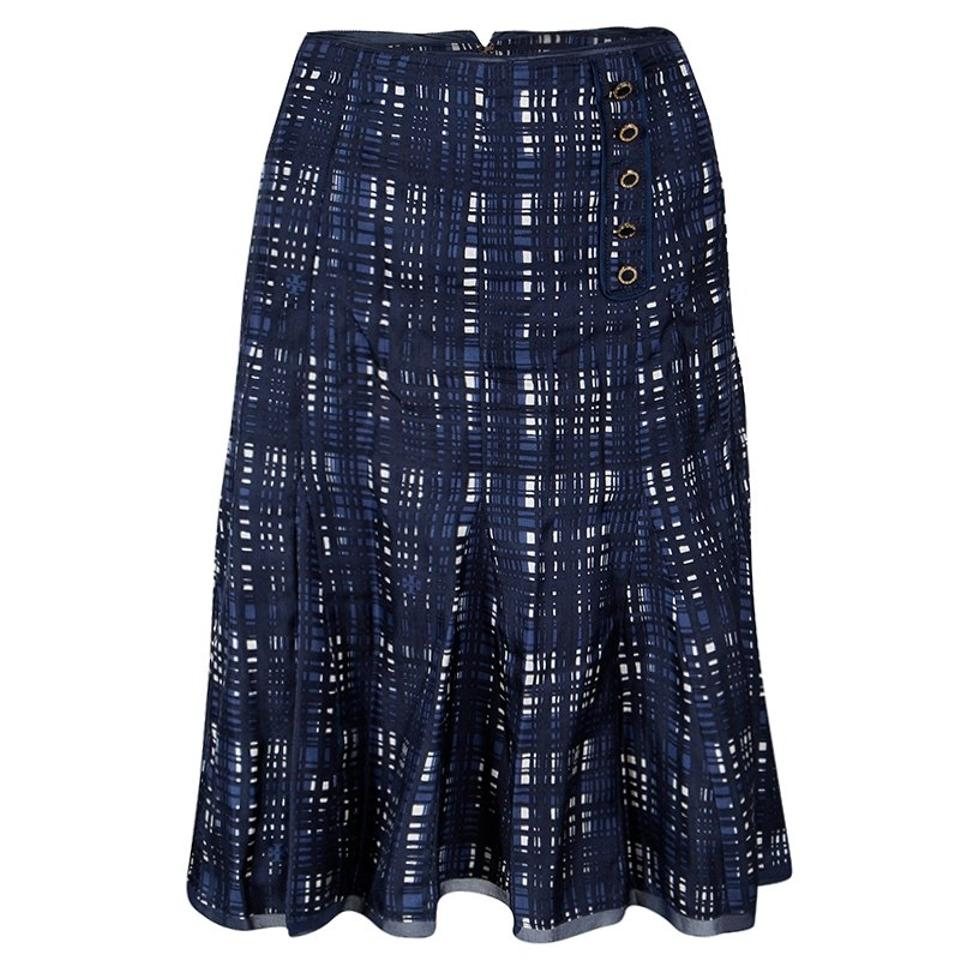 7f4b6b11d744 Tory Burch Navy Blue And White Checked Pleated Silk Wess Skirt Size ...