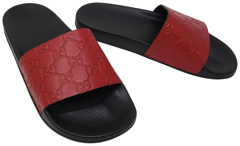 862dd9515f8b Gucci Red Leather Gg Web Slide Sandals Size EU 39 (Approx. US 9 ...