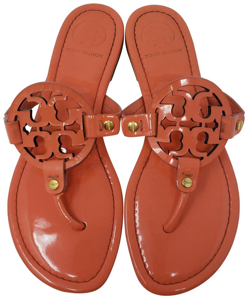 0bf2d1651d70 Tory Burch Orange Patent Leather Miller Slide Sandals. Size  US 8 Regular (M  ...