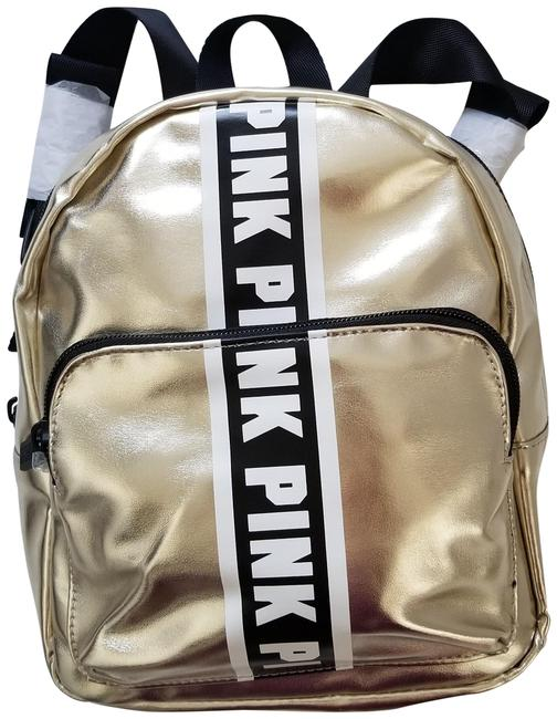 Item - New Pink Logo Metallic Mini Small Gold Sequin Backpack