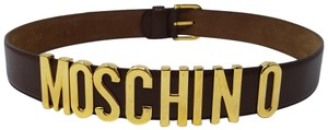 Moschino Brown leather Moschino gold-tone lettering logo belt