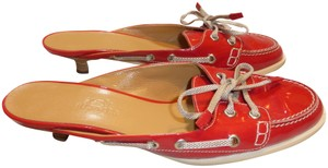Hermès RED PATENT LEATHER & TAN LEATHER Mules