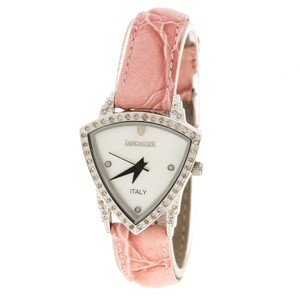 Lancaster White Mother of Pearl stainless Steel Diamond Accented Women's Wristwa