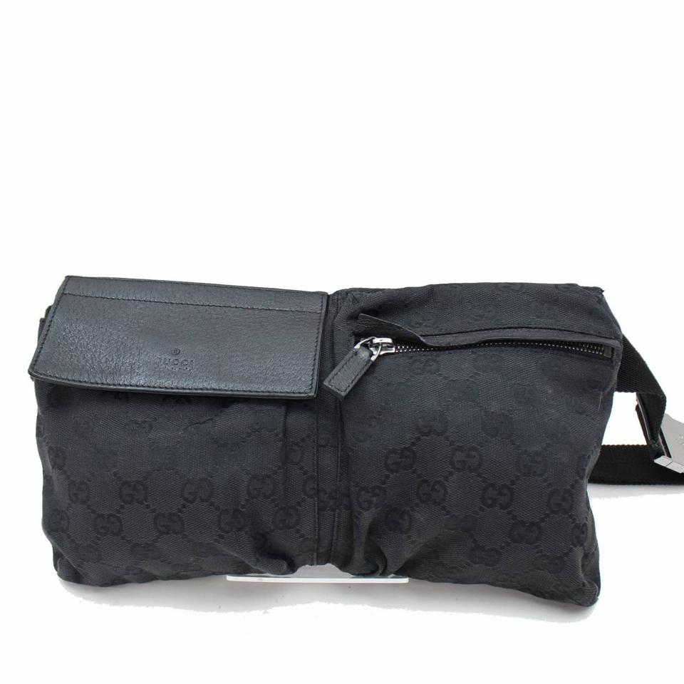1eeeca898cf Gucci Monogram Gg Bum Pouch Waist Pack 867271 Black Coated Canvas ...