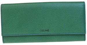 Céline CELINE Logos Long Bifold Wallet Purse Leather Green Italy