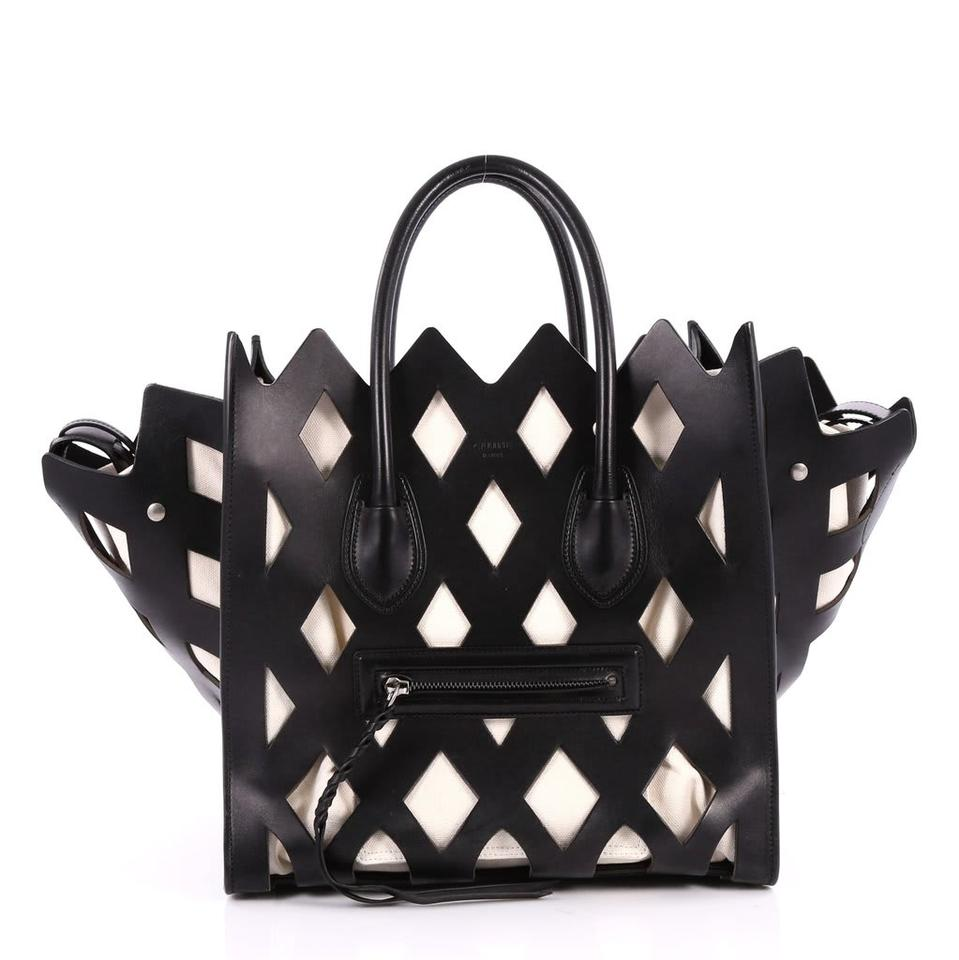 b6e177c8ccb6 Céline Luggage Phantom New Medium Calfskin Cutout Black   White Leather Tote