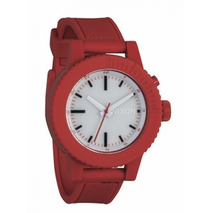 9c45f5df3 Nixon A287200 Women's Red Rubber Band With White Analog Dial Watch