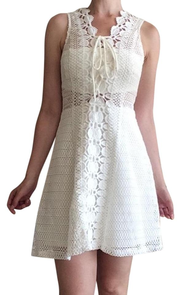 Aqua White Lace Crochet Guipure Short Cocktail Dress Size 4 S