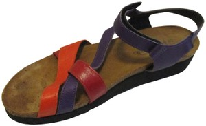 Naot Strappy Tri-color Rubber Sole Velcro Closure Purple Red Orange Sandals