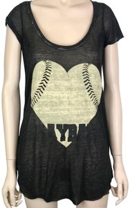 Brokedown Baseball Ball Heart Tank T Shirt Black, Beige
