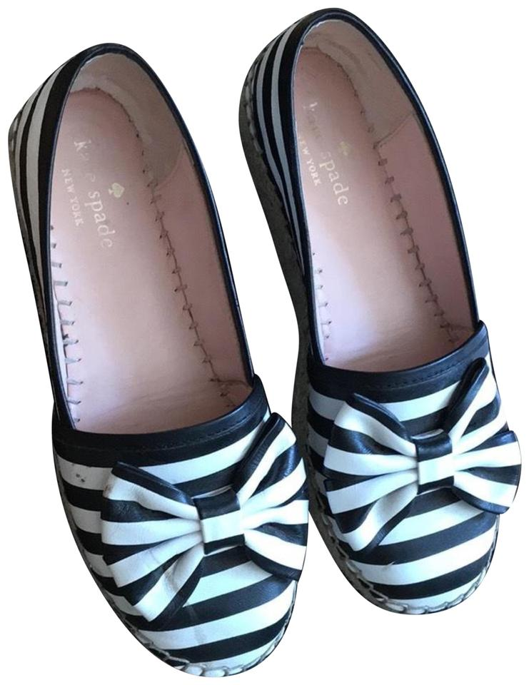 2b2266966bbc Kate Spade Linds Striped Bow Espadrille Black White Flats Size US 6 ...