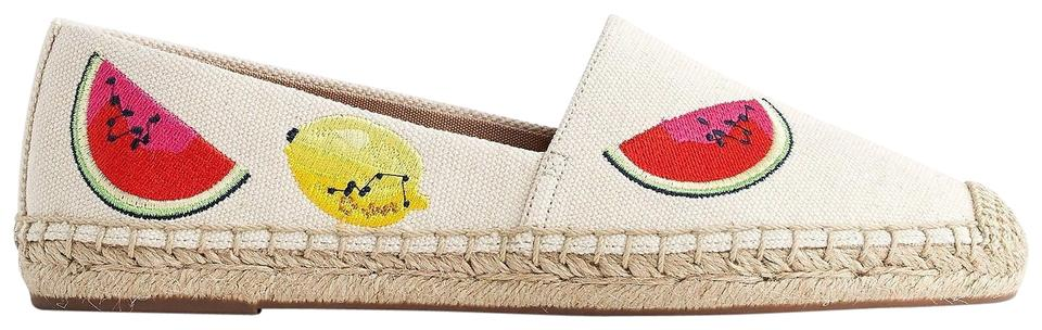 J.Crew Embroidered Ivory Canvas Espadrilles with Embroidered J.Crew Fruit Salad Flats 8dc71f