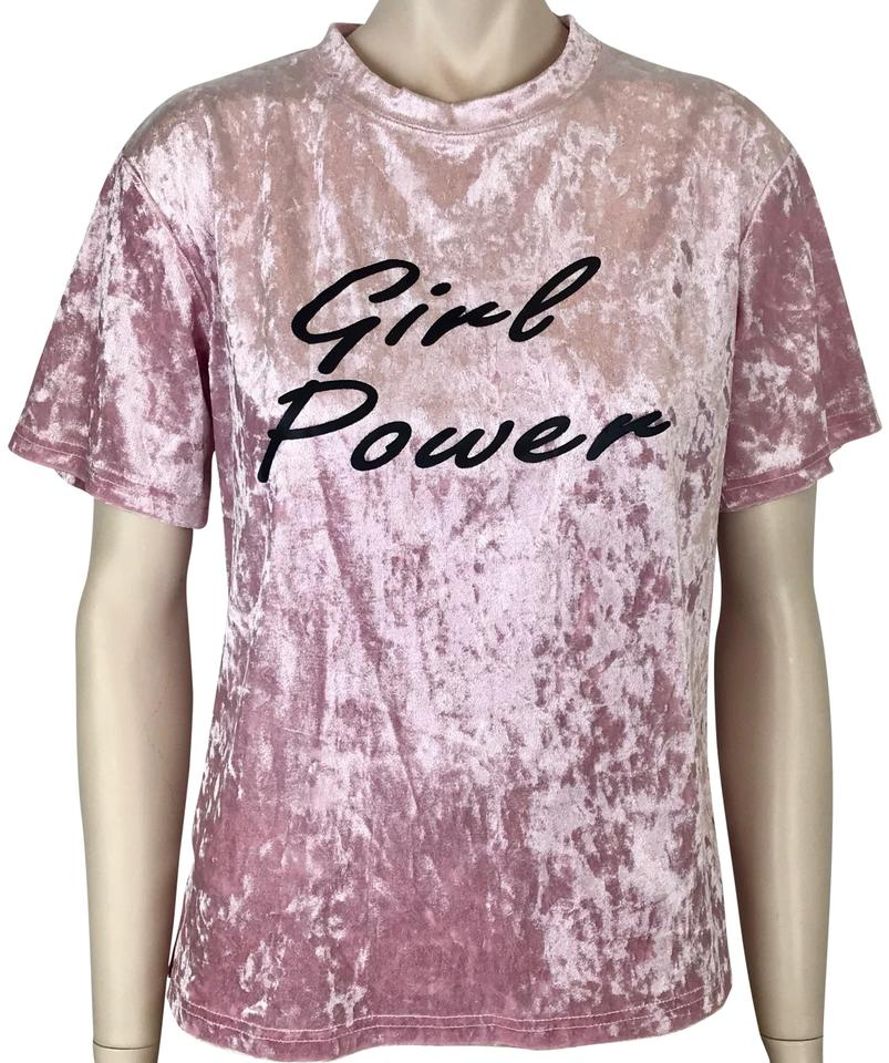 a31845c9d2 SheIn Pink Black Girl & Crushed Velvet Sleeve Power Tee Shirt Size 6 ...