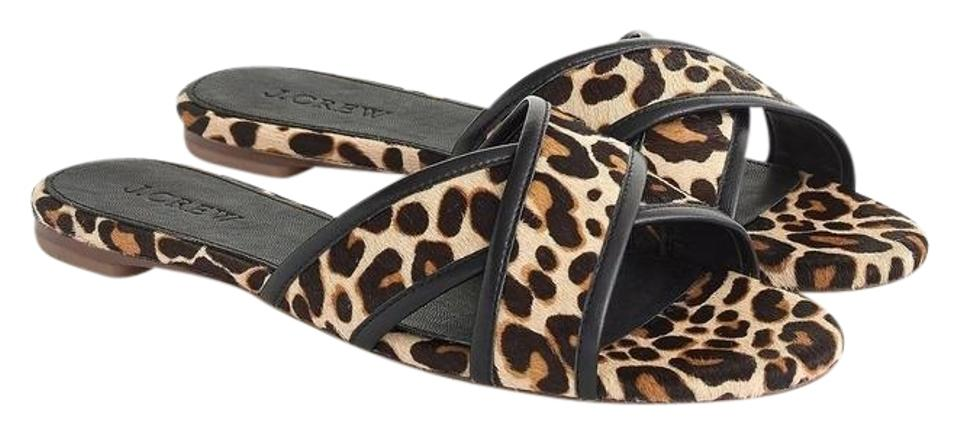 e5d0b4ab2 J.Crew Black Leopard Cora Animal Print Crisscross Sandals Size US 7 ...