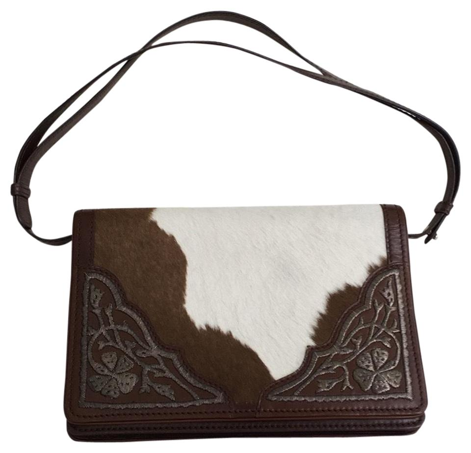 Cross Hair Leather Clutch Shoulder Moschino Bag Horse Handbag Brown White Vintage and Body SAqqn0vW