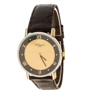 S.T. Dupont Gold Dial Gold Plated Stainless Steel Women's Watch 32 mm
