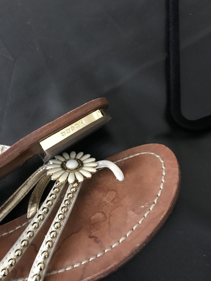 561f9b7ce Coach Leather Flower Gold Cream   Brown Sandals Image 6. 1234567. 1 ∕ 7