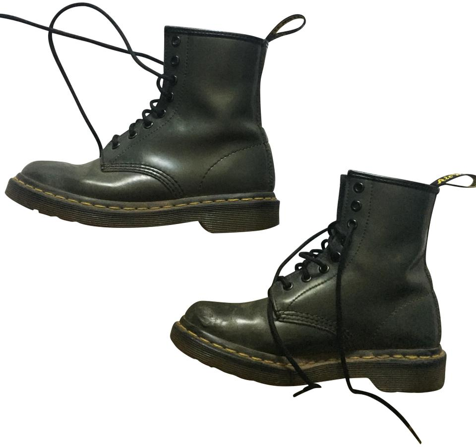Dr. Martens Green Pascal Patent Leather Boots Booties Size US 5 ... 81bea69ebdf1