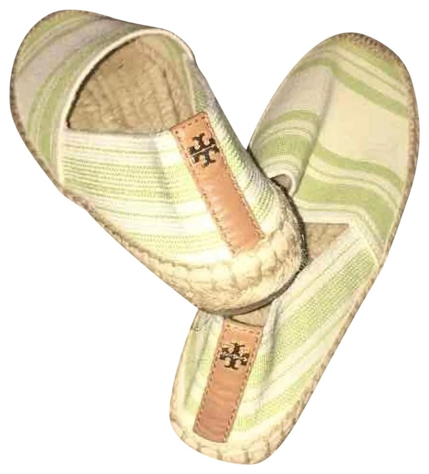 Tory White Burch Green & White Tory Canvas Stripe Espadrilles Flats 618184
