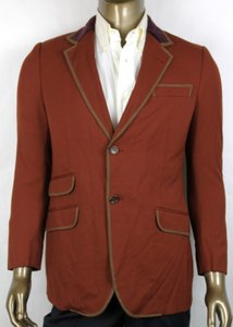 Gucci Orange Brown 70's Twill Stretch Formal Jacket 48r/Us 38r 392448 2199 Groomsman Gift