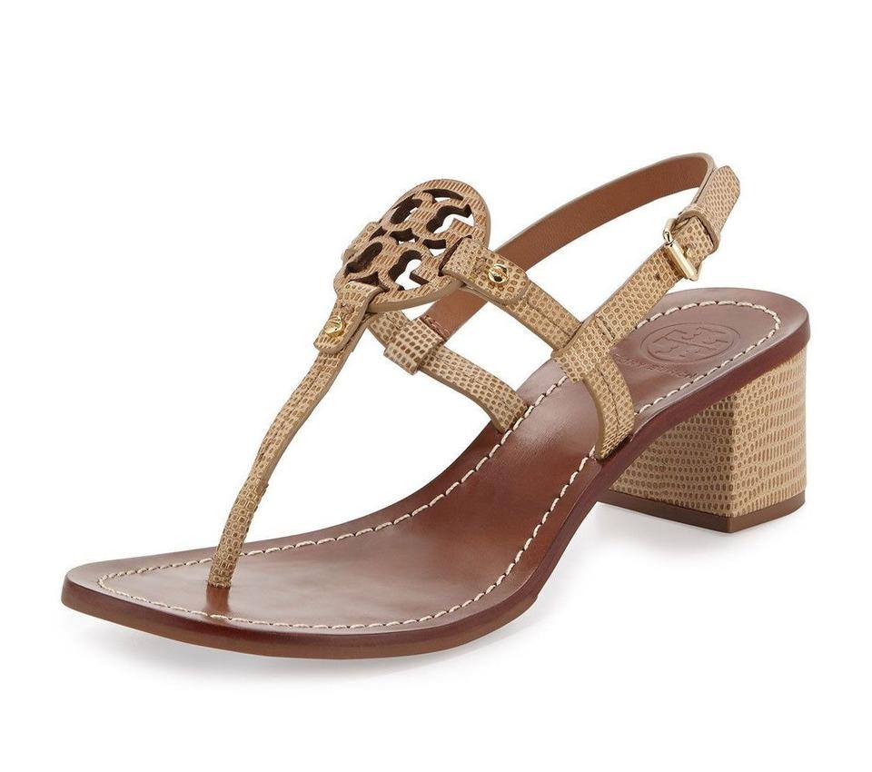 175833bfd6a Tory Burch Beige Mini Miller Block Heel Lizard Print Leather Sandals ...