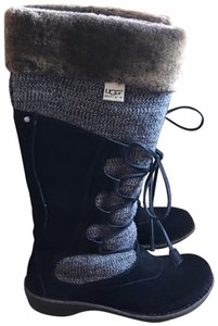 UGG Australia black suede with grey knit with brown fur Boots