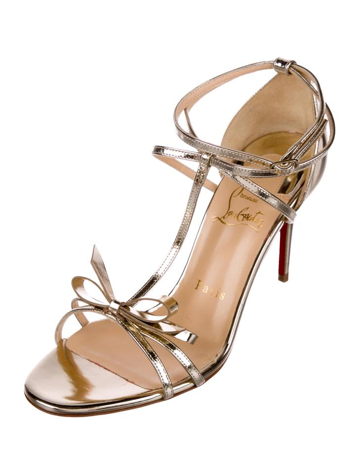New Leather Sandals Louboutin 7 Metallic Christian gqwECE