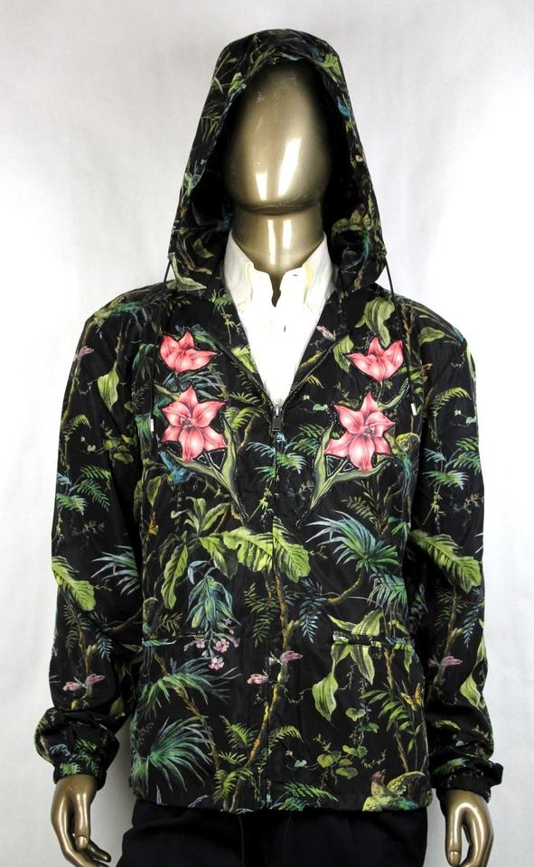 51f1f1aa4 Gucci Black/Green Men's Tropical Jungle Printed Nylon Jacket It 56r/Us 46r  429589 ...