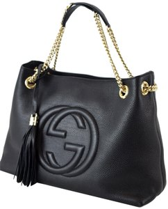 Gucci Soho Chain 308982 Leather Tote in Black