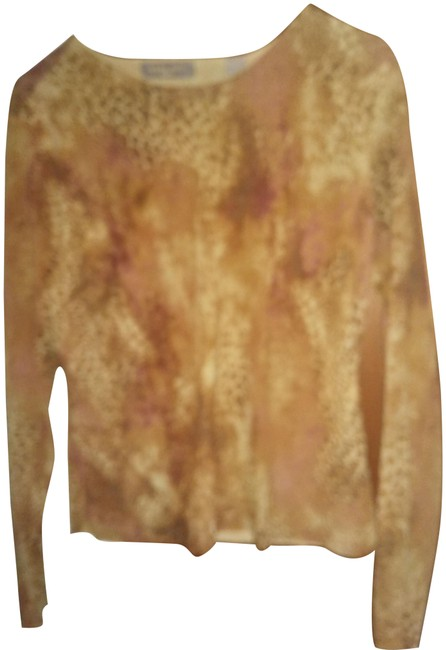Item - Brown Yellow Beige Sp Animal Print Long Sleeve Tunic Size 6 (S)