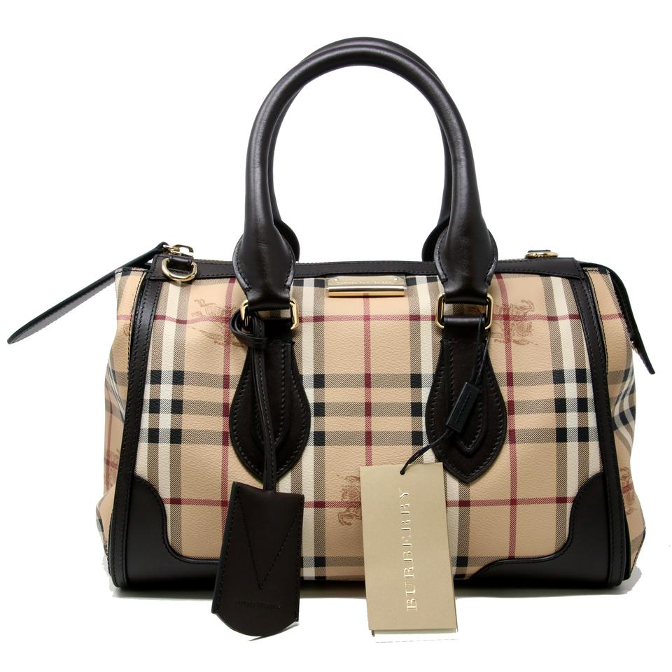 0d1640809ac5 Burberry Haymarket Check Coated Canvas Small Gladstone Chocolate Brown  Leather Tote