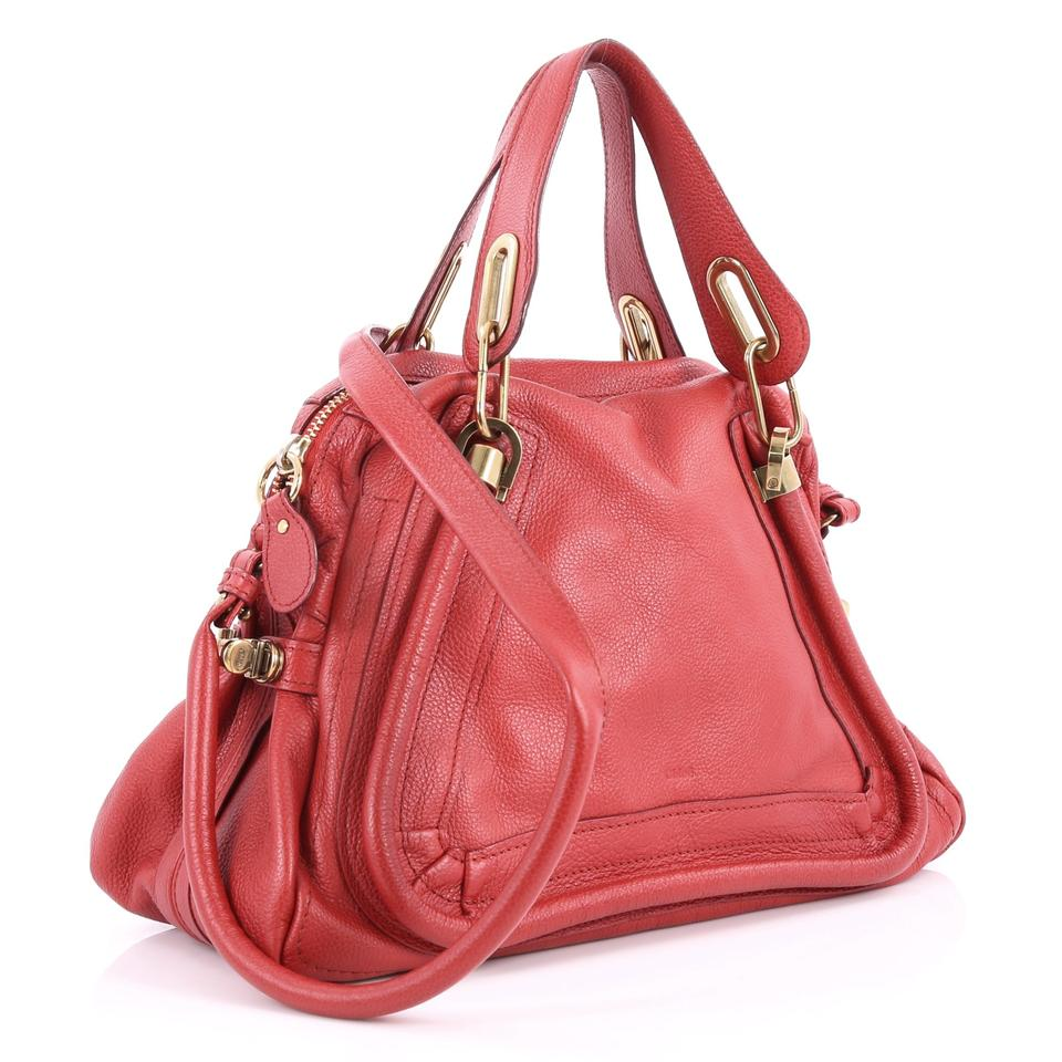 Handle Top Red Medium Chloé Paraty Leather Tote qAwvvEngWF