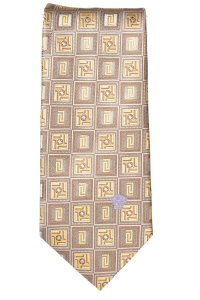 Versace Versace men's yellow and taupe silk geometric print tie NWOT