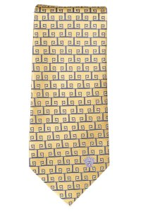 Versace Versace men's yellow and blue silk geometric print tie NWOT