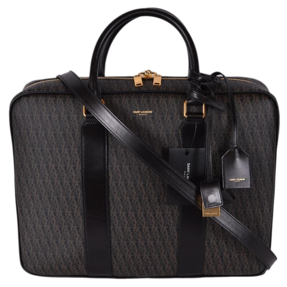 Brown Messenger Briefcase Laurent Leather New Coated Ysl Printed Toile Bag Men's Canvas Saint a48xP