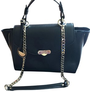 Added To Ping Bag Versace Collection Shoulder Top Handle Satchel Black Leather
