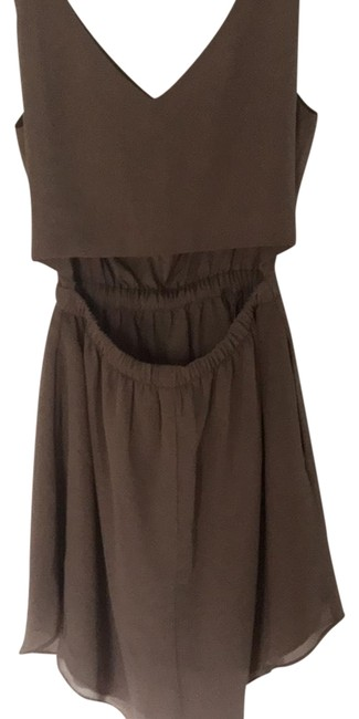 Item - Tan Nude Camel Color Cut Out Open Back Above The Knee Mixer Party Short Cocktail Dress Size 2 (XS)