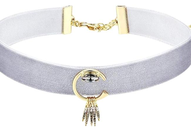 Item - Grey / Gold Velvet Choker Necklace