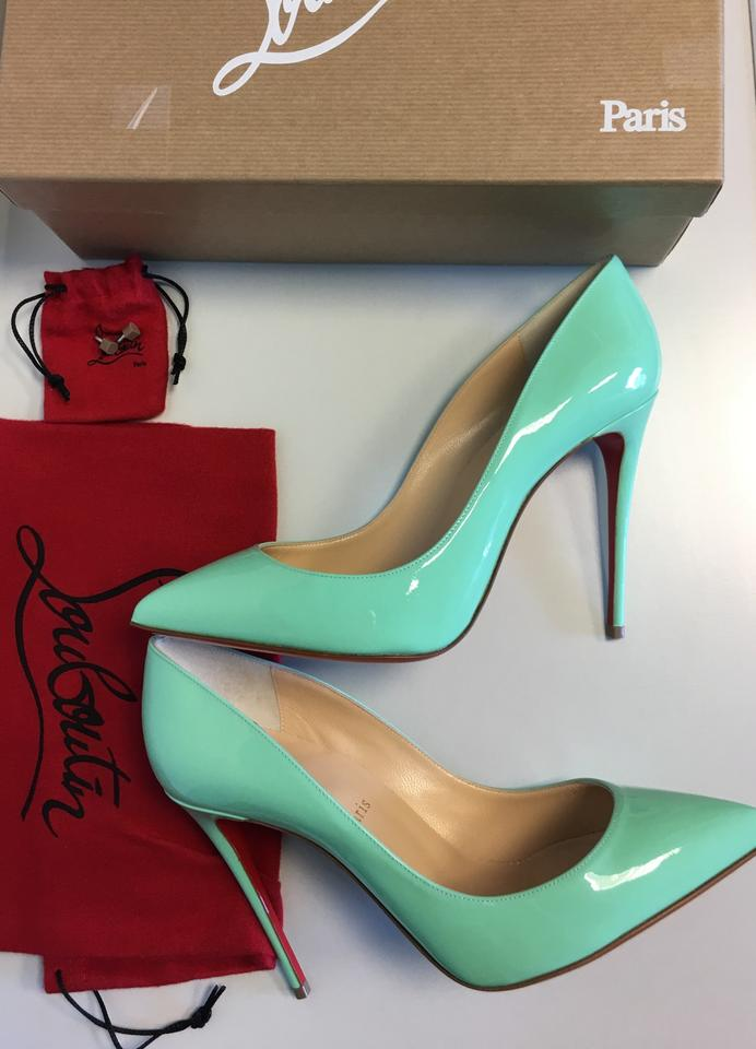 100mm Leather Classic toe Patent Turquoise Pumps Louboutin Point Pigalle Follies Christian wZqaX0Zx