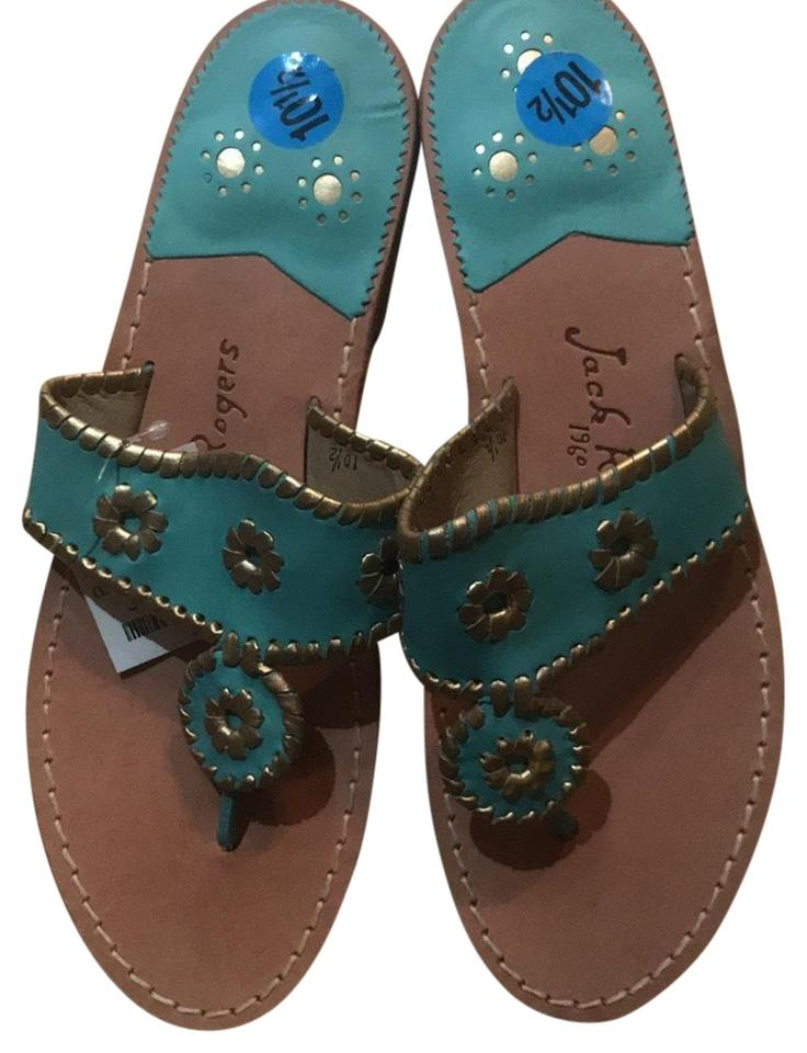 456d1ea9499c18 Jack Rogers Aqua Blue Gold With Trim Summer Sandals Size US 10.5 ...