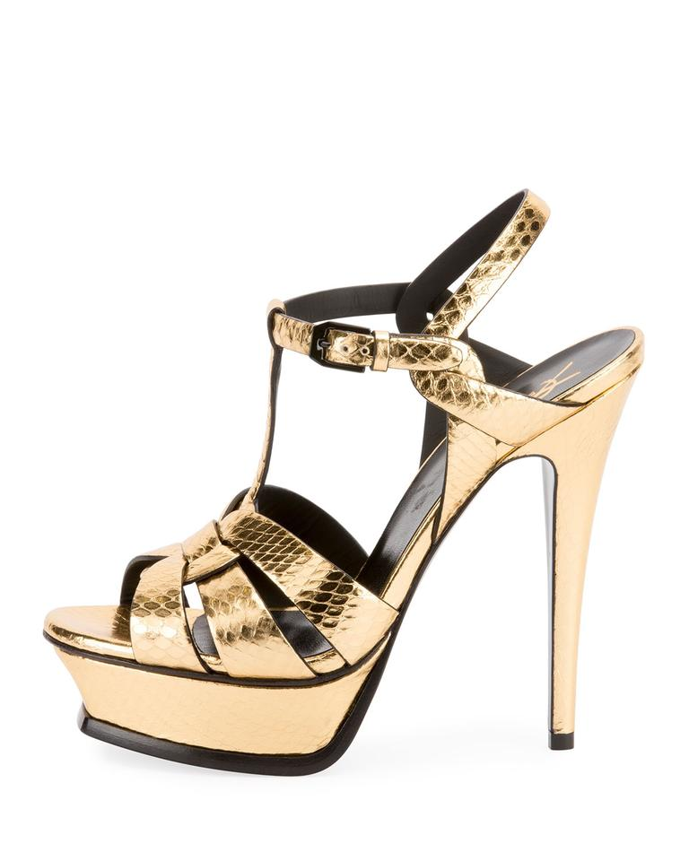 c8cec68fd91 Saint Laurent Gold Tribute Metallic Snake Platform Sandals Size EU ...